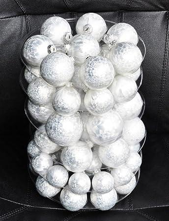 Weihnachtskugeln Weiß.Jack 59x Eislack Glas Christbaumkugeln Weiß 4 5 6 7 Cm Weihnachtskugeln Kugeln