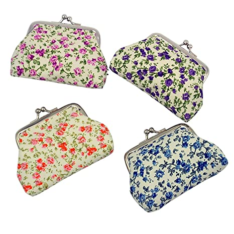 mciskin 4 piezas Monedero de Floral con cierre de bolsa de cambio de Kisslock Monedero pequeño de monedas para mujeres niñas 3.5