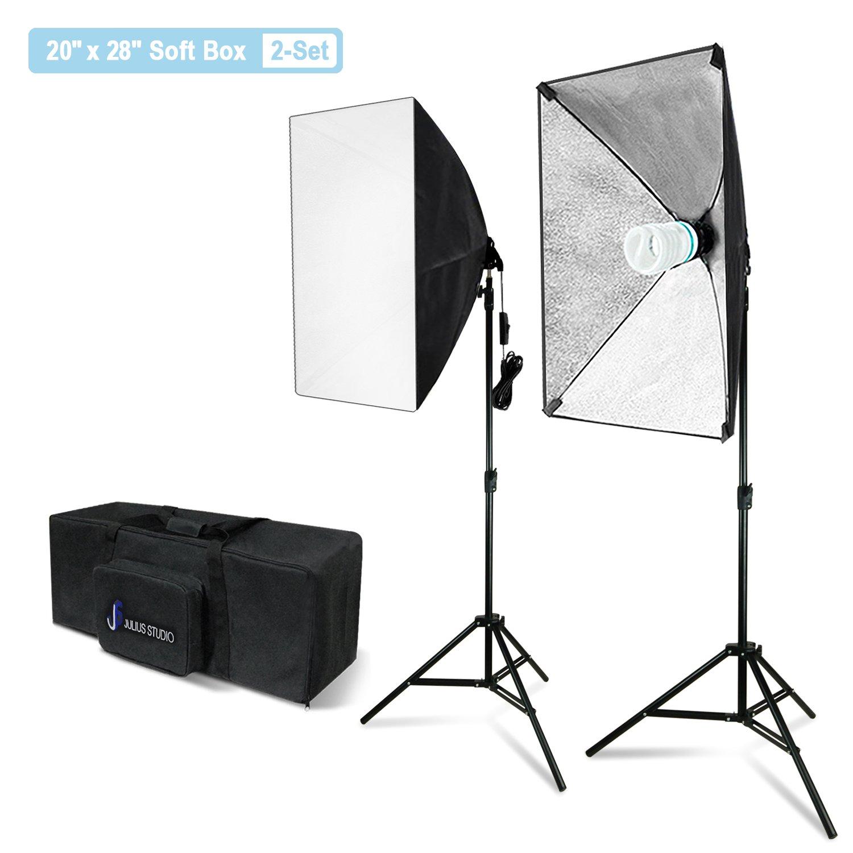 Julius Studio 20 x 28 Inch Soft Box with Bulb Socket Lighting Kit, 800W Output Softbox Light for Video Camera Photography, Photo Portrait Studio, Photo Lighting Diffuser, JSAG344V2 by Julius Studio