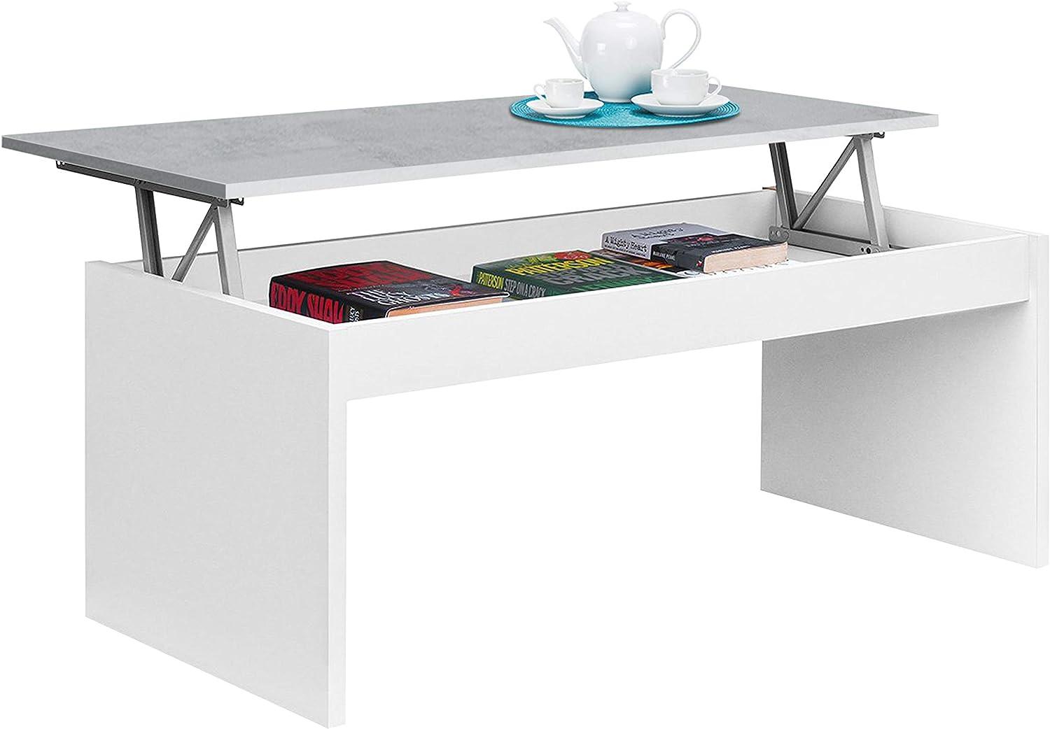 Habitdesign 0L1638A- Mesa de Centro elevable Modelo Zenit, mesita Mueble Salon Comedor Acabado en Blanco Artik - Cemento, Medidas: 102 cm (Ancho) x 43/54 cm de (Alto) x 50 cm (Fondo)