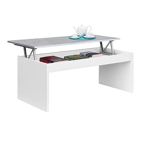 Habitdesign 0L1638A- Mesa de Centro elevable Modelo Zenit, mesita Mueble Salon Comedor Acabado en Blanco Artik - Cemento, Medidas: 102 cm (Ancho) x ...