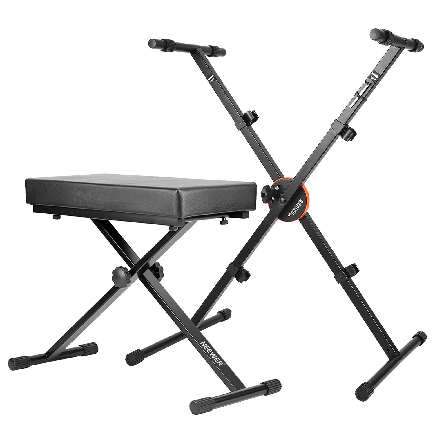Neewer X-style Keyboard Bench and Stand Kit - Detachable Adjustable Padded Keyboard Bench and Foldable Keyboard Stand with Height Control Lock and Non-slip Rubber Caps, Solid Metal (Black)