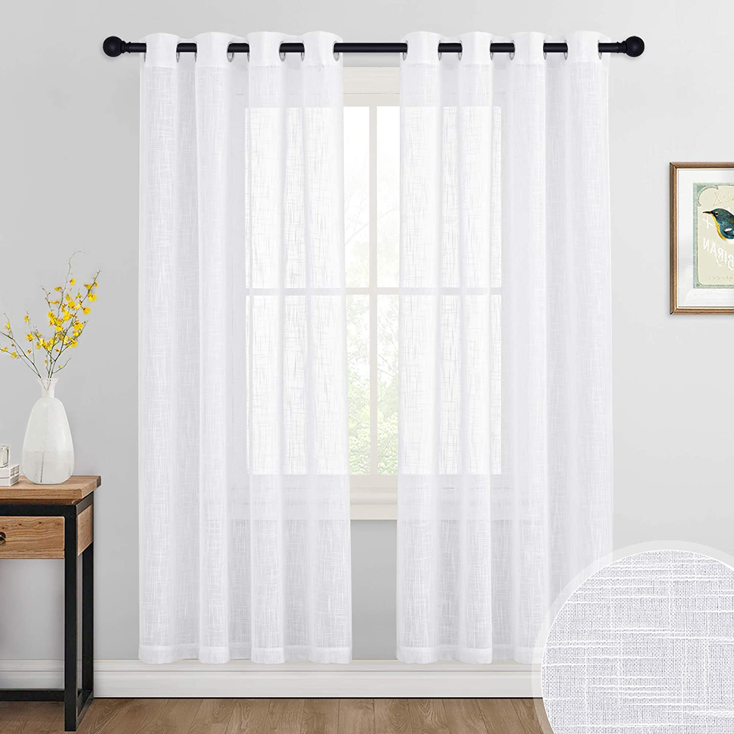 RYB HOME Sheer White Curtains - Grommet Semi-Sheer Curtains Privacy Linen Textured Sheer Drapes for Bedroom Living Room Dining Balcony, 52 inches Width x 72 inches Length, 1 Pair