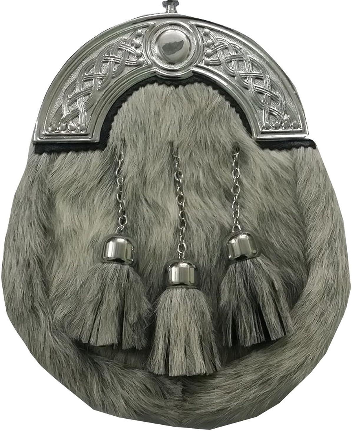 Men/'s Scottish Highland Kilt Sporran Grey Bovine fur Celtic Cantle//kilt Sporrans