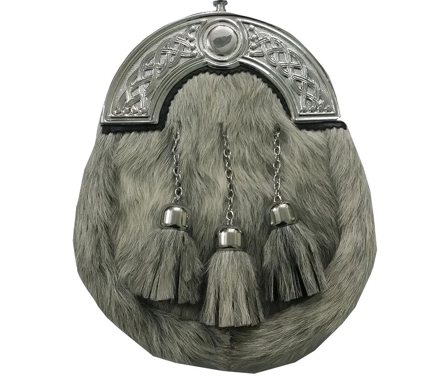 CC Scottish Kilt Sporran Grey Bovine Celtic Cantle//kilt Sporran//mens sporrans