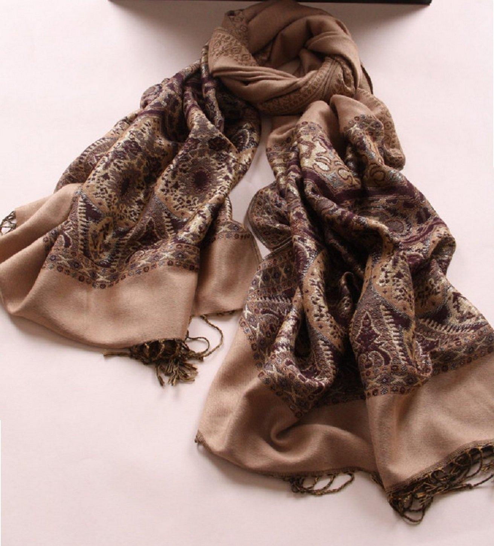 Onlineb2c Women's Woven Reversible Paisley Pashmina Shawl Wrap Camel by Onlineb2c (Image #3)