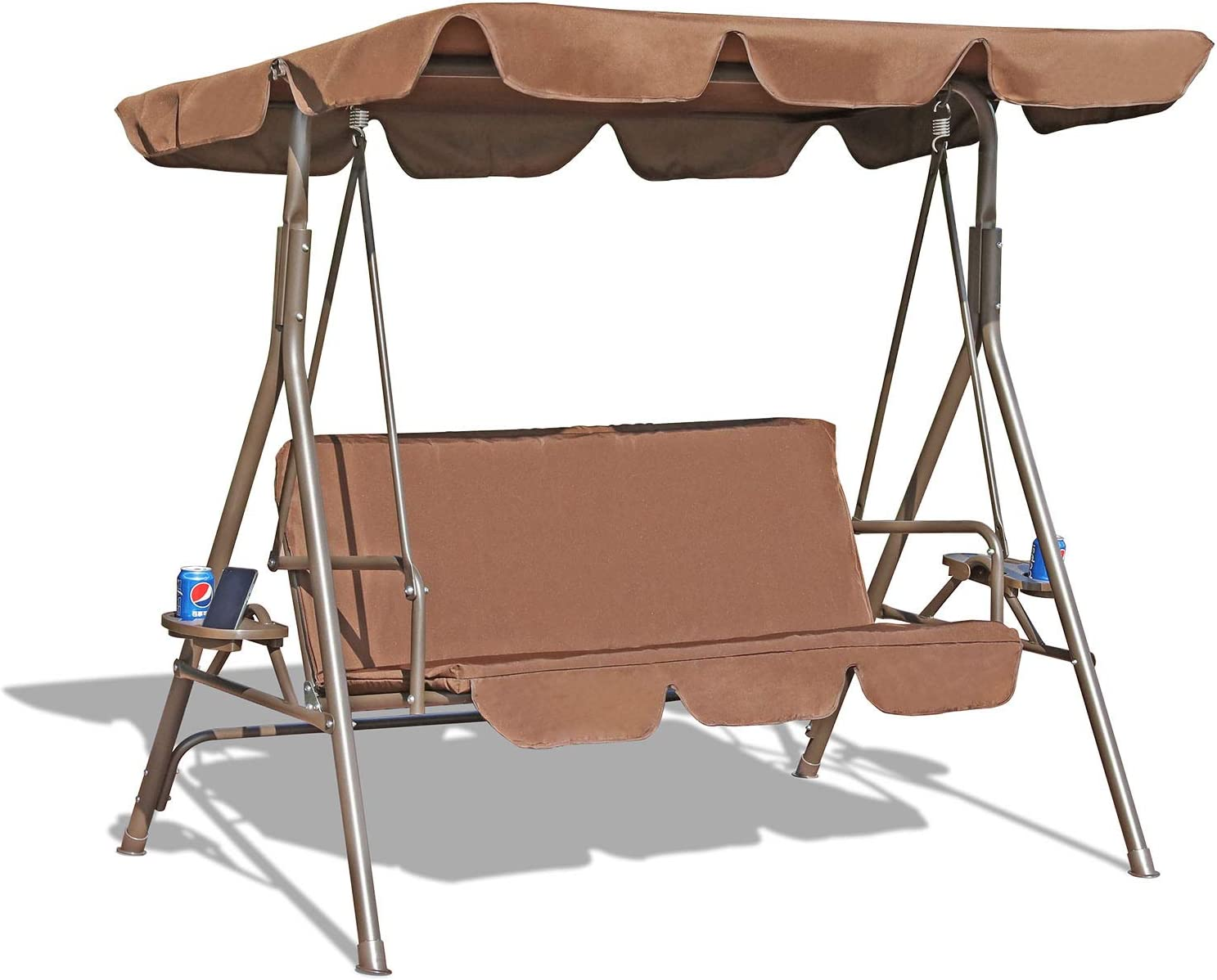 GOLDSUN Durable 3 Person Outdoor Patio Swing with Teapoys Weather Resistant Canopy Steel Frame and Removable Cushion for Balcony,Garden, Porch,Deck and Poolside(Coffee)
