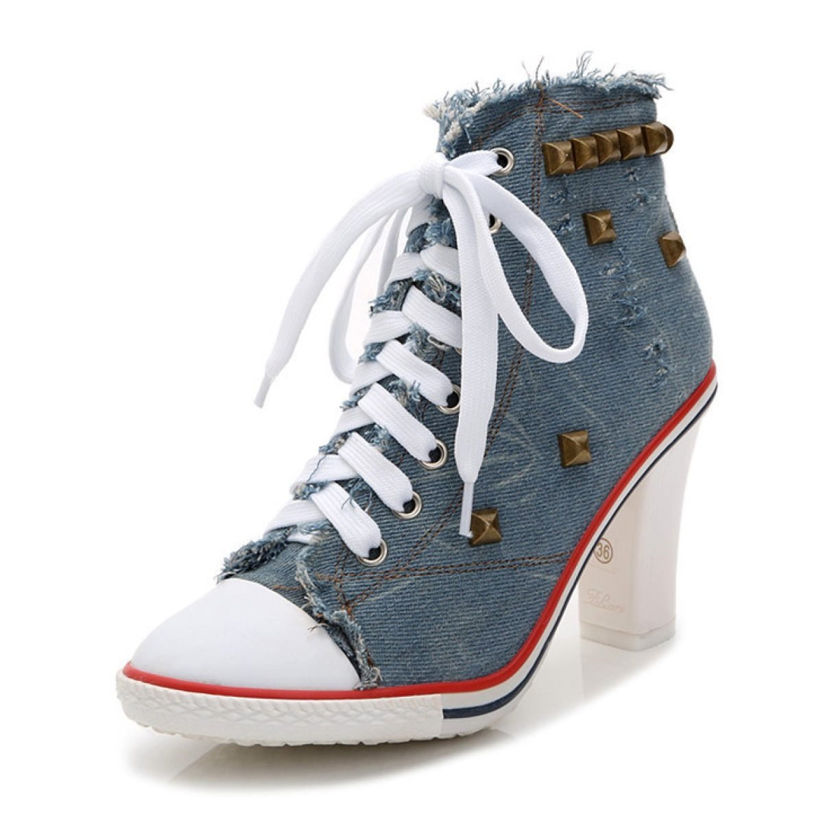 NBWE Frauen Denim Student High Heels Canvas Schnür Niet Student Denim Schuhe Blau c3168b