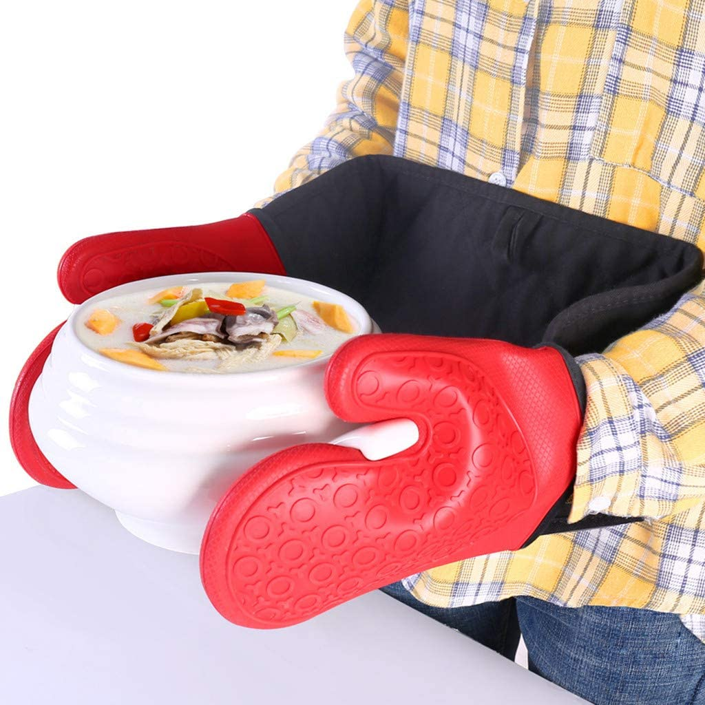 Flurries ???? Hands Linked Silicone Cotton Oven Gloves - Long Widened Double Microwave Mitts - Non-Slip Heat Resistant Pot Pan Holders Rack - for Kitchen Cooking Baking BBQ Grilling Accessories