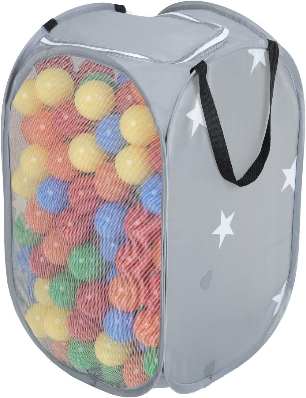 KiddyMoon Cesta De Malla Con 200 bolas (∅ 7cm) Coloridas Para Niños NZ-42-GREY, Gris:Amarillo/Verde/Azul/Rojo/Naranja