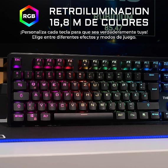 THE G-LAB Keyz Rubidium Teclado Mecánico Gaming QWERTY – Incluye Ñ – Alto Rendimiento – Teclado Mecánico Red Switch – Retroiluminación RGB, ...