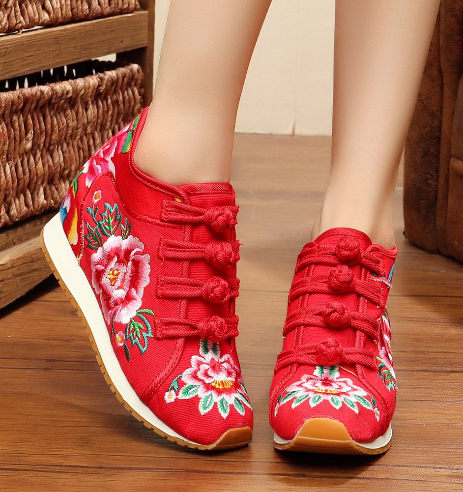 AvaCostume Womens Peony Embroidery Wedge Casual 40 Travel Walking Shoes B01LQ565ME 40 Casual M EU|Red 5567e6