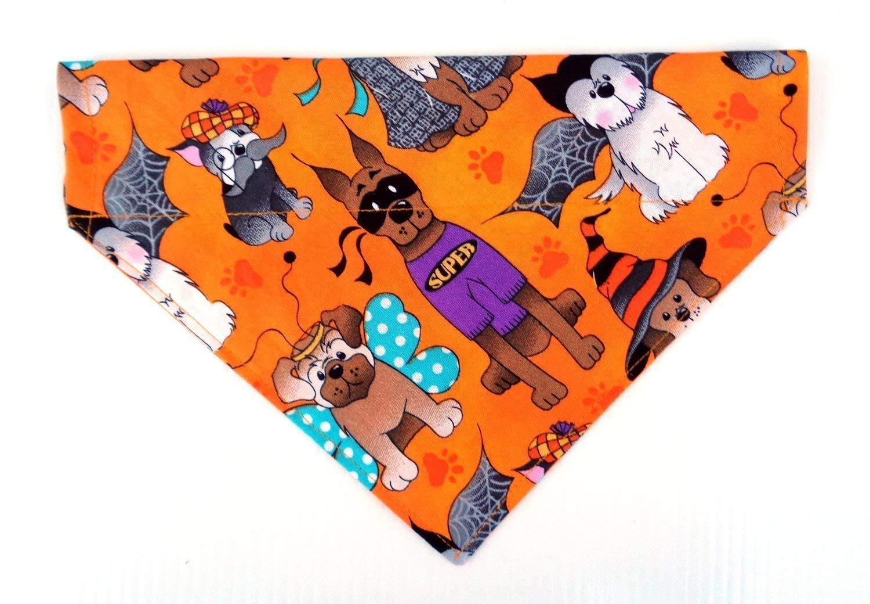 Reversible Dogs in Costumes Halloween dog bandanna, Over the Collar Slip Through No-Tie Petwear Neckwear