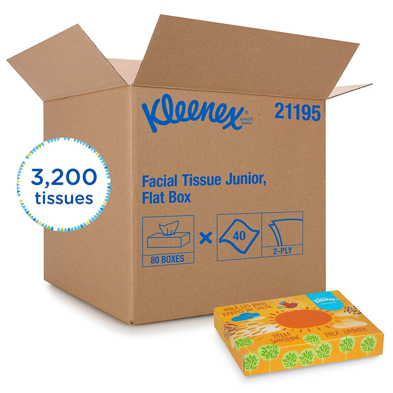Kleenex Professional Facial Tissue for Business (21195), Flat Tissue Boxes, 80 Junior Boxes/Case, 40 Tissues/Box