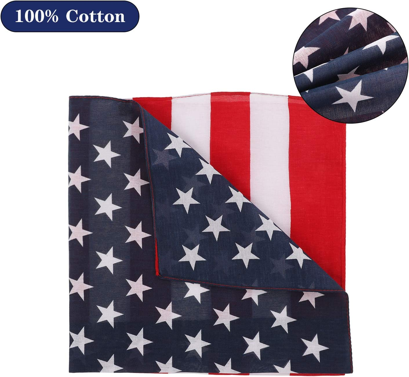 Weewooday 12 Pieces Cowboy Bandanas American Flag Cotton Bandanas Dust-Proof Head Wrap Unisex Wristband Headbands Hair Scarf for Outdoor Activities