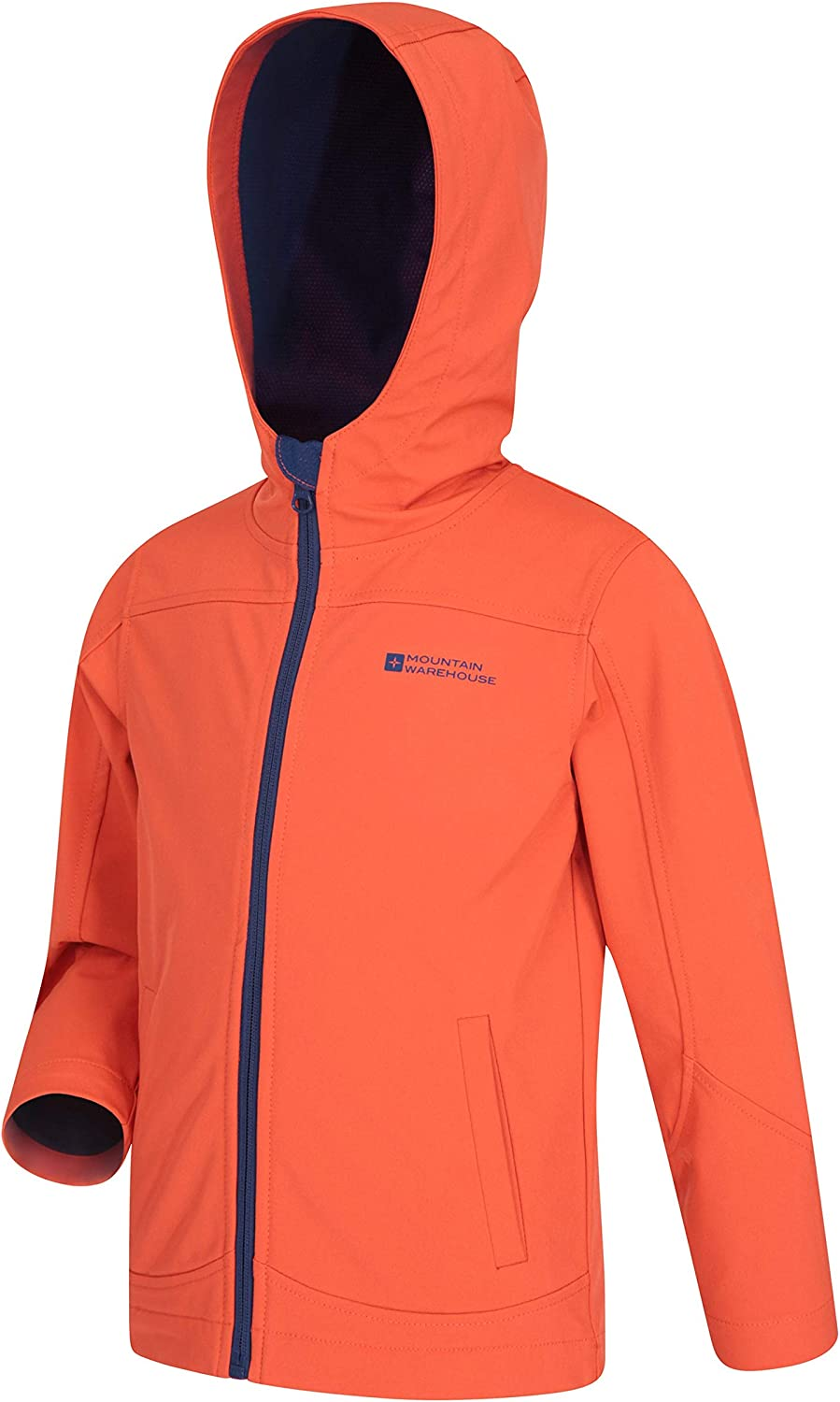 Wind /& Water Resistant Childrens Shell Jacket Fleece Lined Hood Mountain Warehouse Exodus Kids Softshell Lightweight for Travelling Orange 7-8 Years