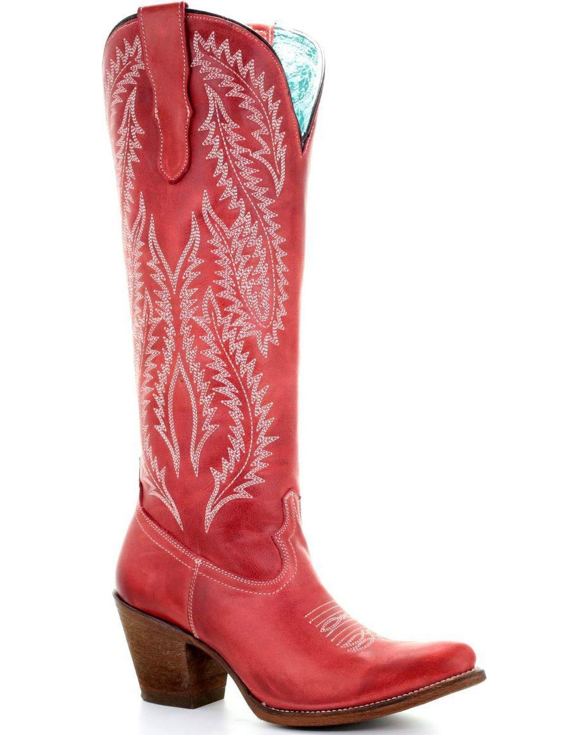 CORRAL Women's Embroidery Tall Top Western Boot Round Toe - E1318 B077Z8FKF8 8.5 B(M) US|Red
