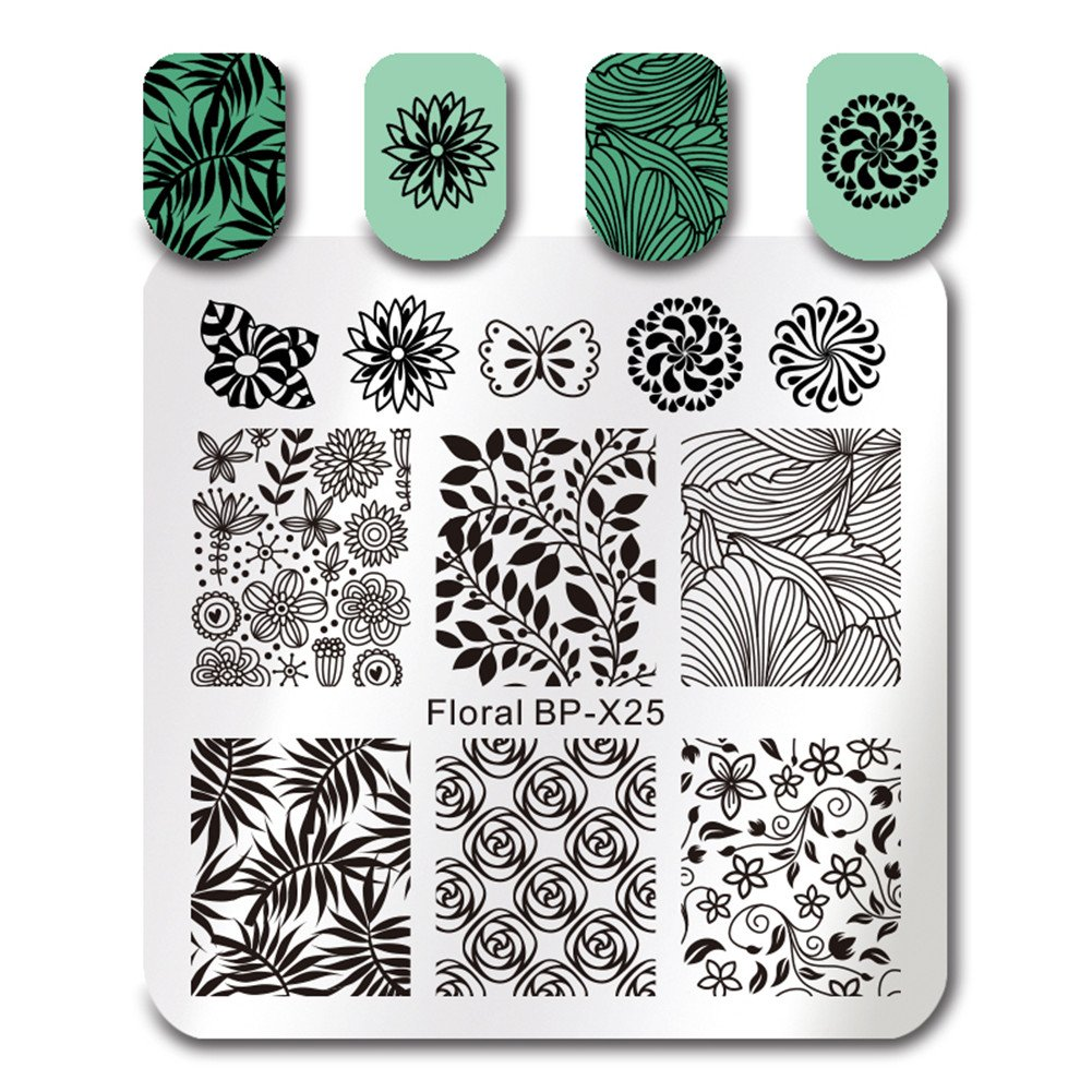 BORN PRETTY Square Nail Art Stamp Template Floral Flower Leaf Butterfly Image Plate BP-X25