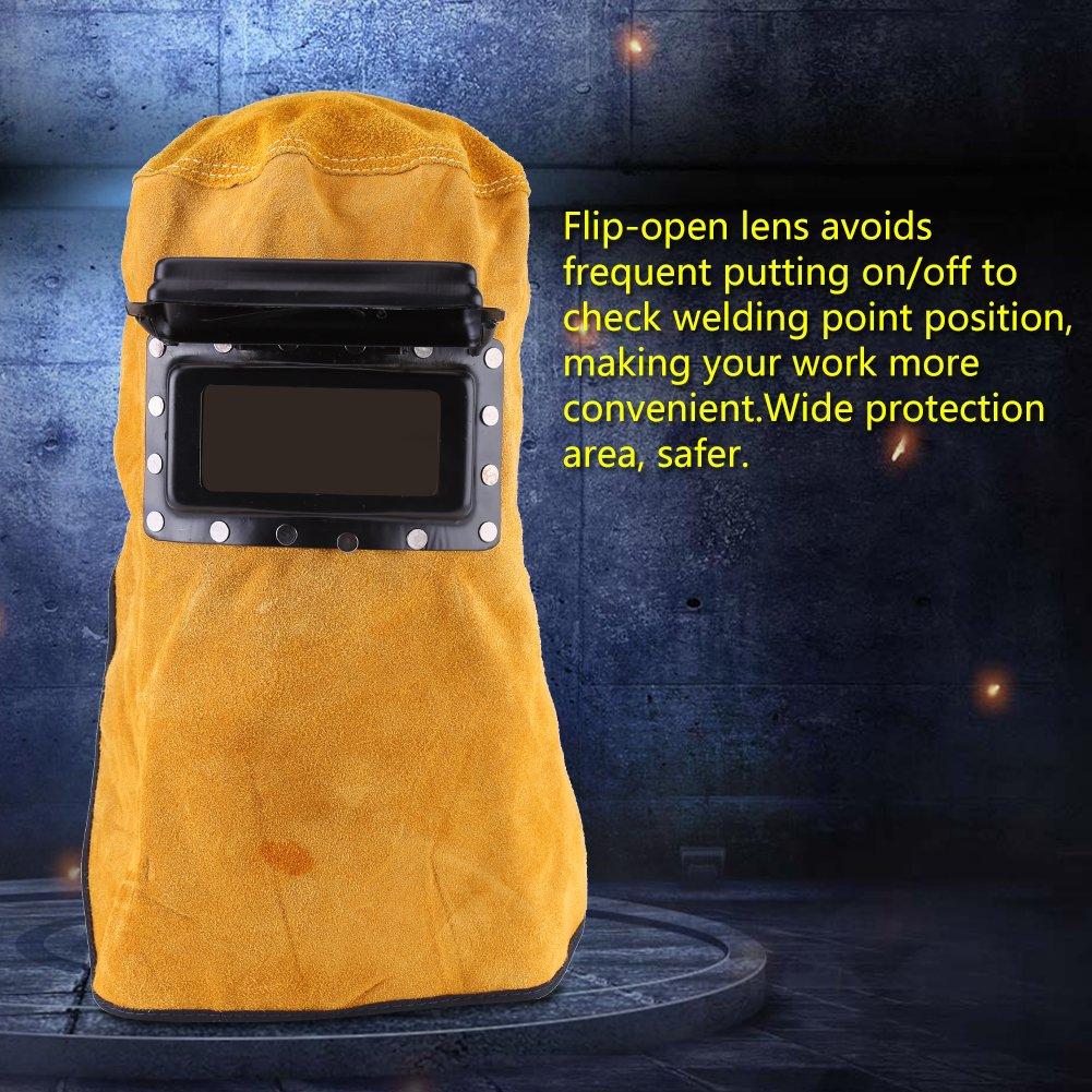 Cappuccio per saldatore in pelle resistente al calore Cappuccio Casco per saldatura traspirante con lente maschera per casco in pelle per saldatura Filtro solare auto-oscurante Lente per filtro