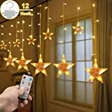 Star Curtain Lights, Christmas Decorations String lights 8 Modes 7.2Ft 108 LEDs with Remote Control, Window Fariy Light Indoor Outdoor Waterproof Decorative for Party Wedding Bedroom Garden