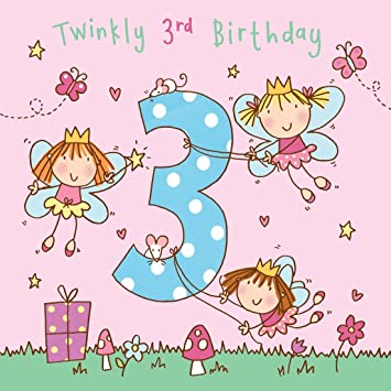 811e647dd Twizler 3rd Birthday Card for Girl with Fairy Princess and Glitter ...