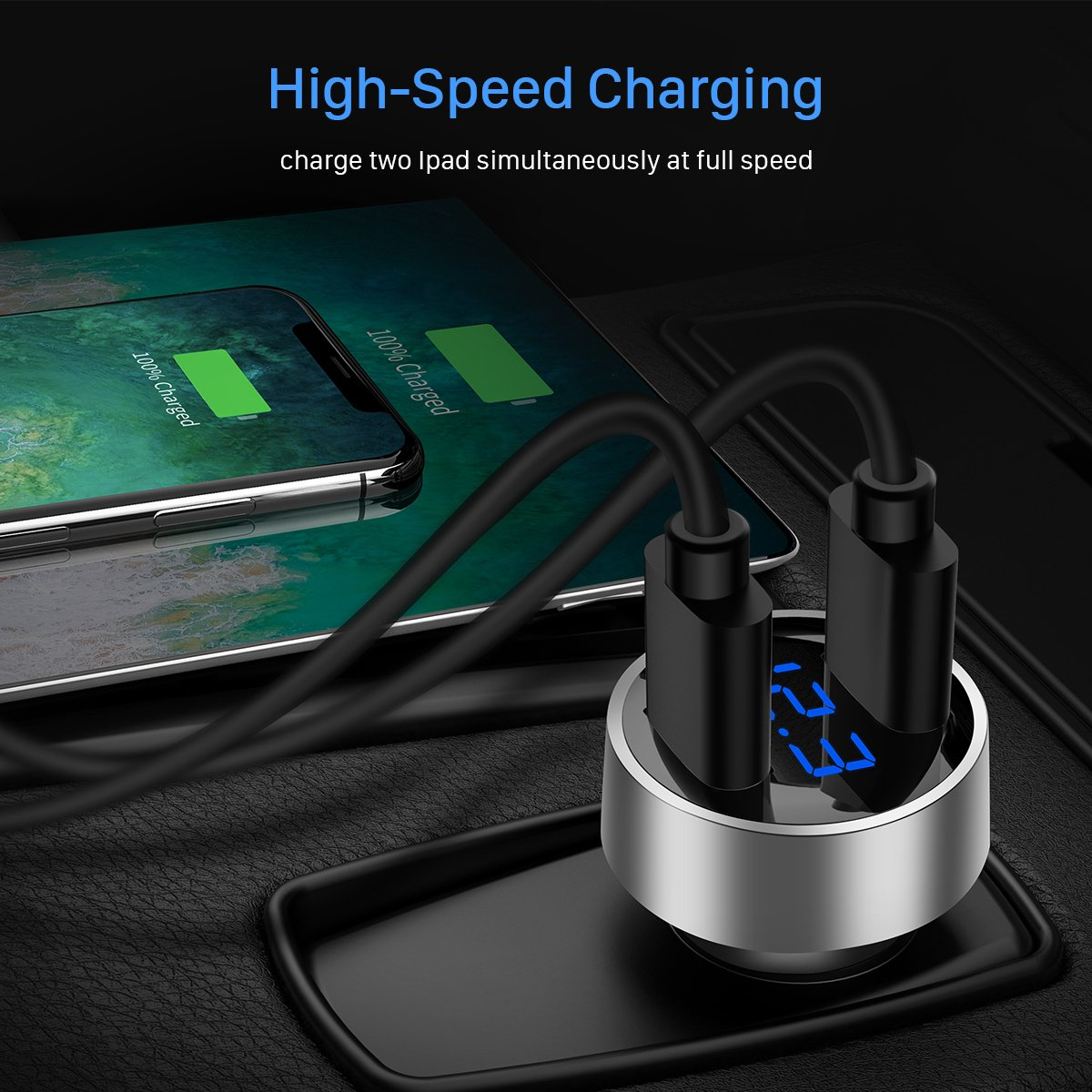 Car Charger, Ainope 4.8A Car Charger Adapter Metal Dual USB Car Charger LED Display Car Voltage Detector Flush Fit for Phone X/ 8/7/ 6s/ Plus, iPad Air 2/ mini 3, Samsung Note 9/ Galaxy S9/ S8- Silver by Ainope (Image #3)