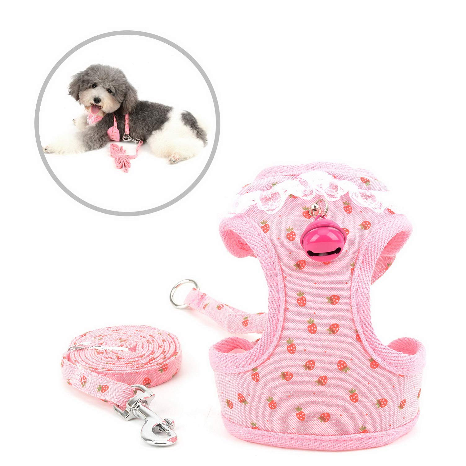 Lace Trim Collar Bell Girls Small Dog Vest Harness and Leash Set for Walking Escape Proof Kitten Cat Harness No Pull Soft Mesh Padded Adjustble Puppy Summer Clothes,Pink Strawberry,Medium