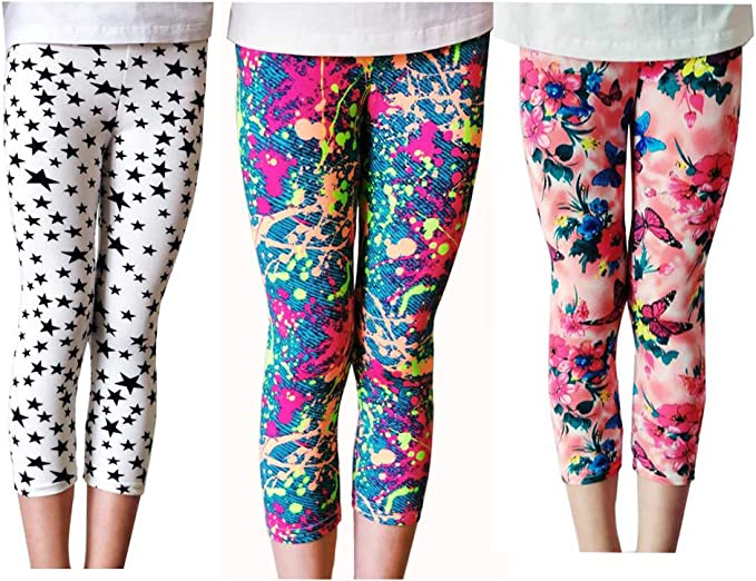 Lazzon Pantalon Fille Leggings Crayon 3//4 Motif de Fleur Collants /ét/é Enfant 3-10 Ans 3 Paquet