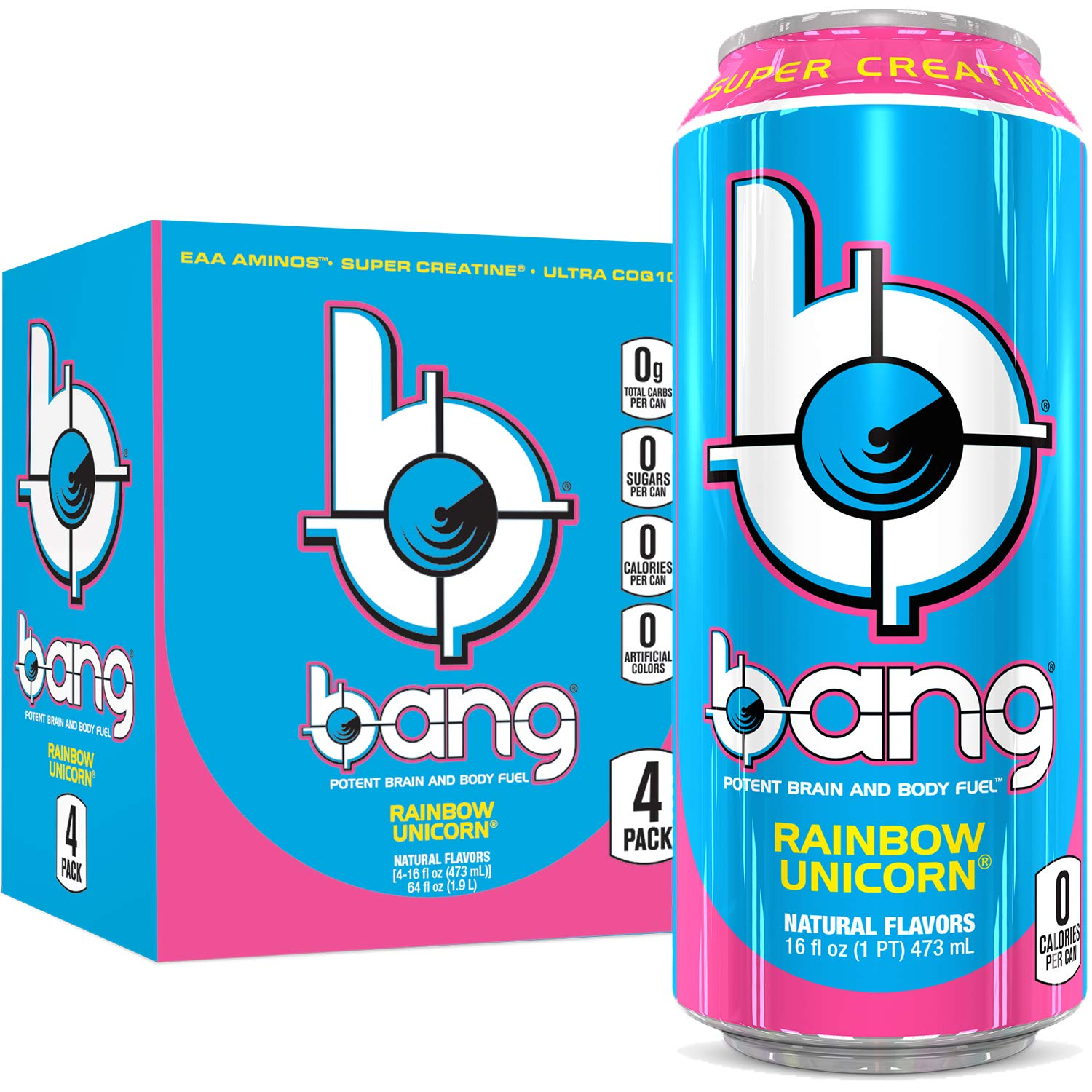 Bang Rainbow Unicorn Energy Drink, 0 Calories, Sugar Free with Super Creatine, 16oz, 4 Count