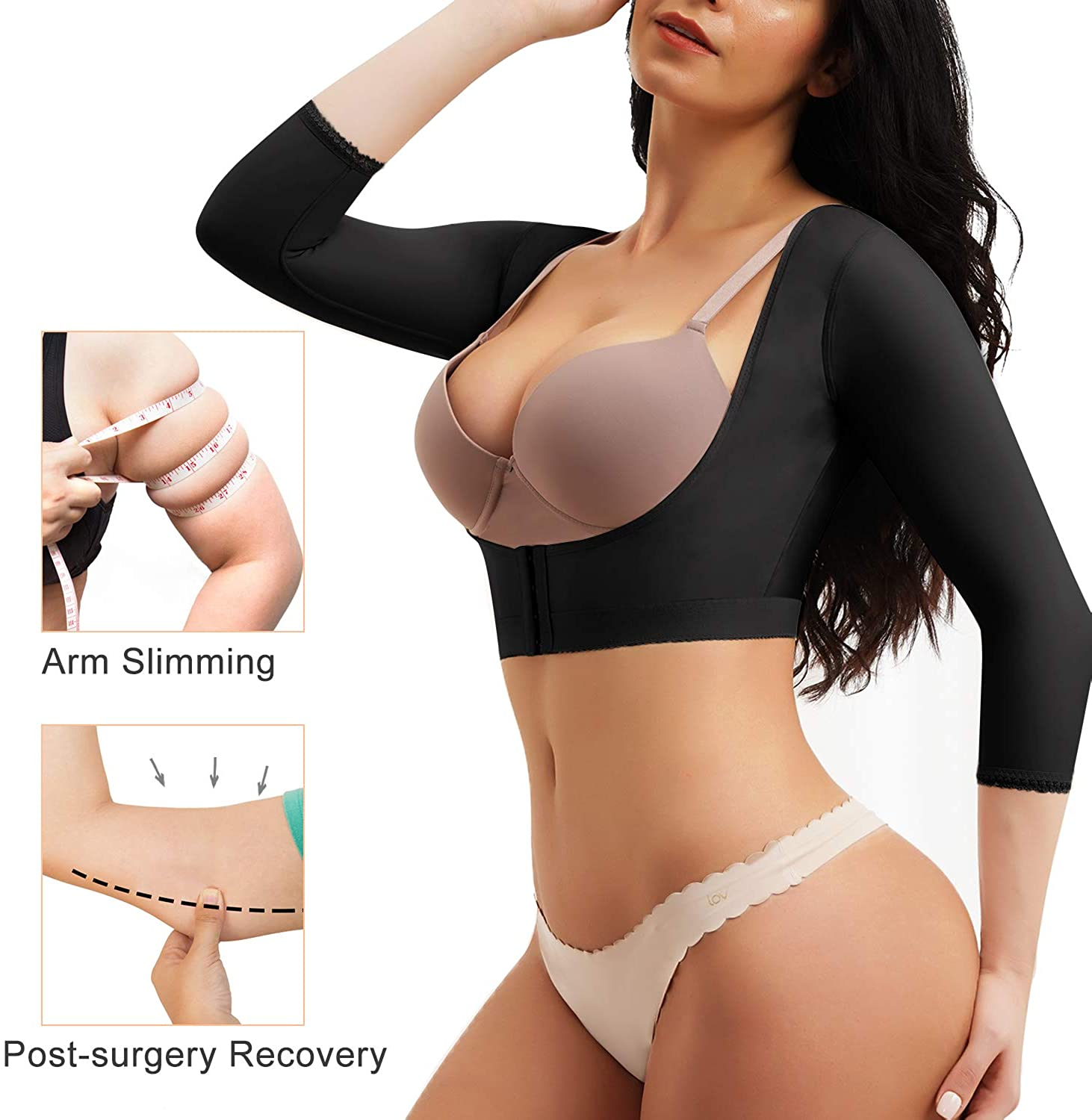 CYDREAM Women Upper Arm Shaper Post Surgical Shapewear Compression Sleeves Top Posture Corrector Body Shaper at  Women's Clothing store