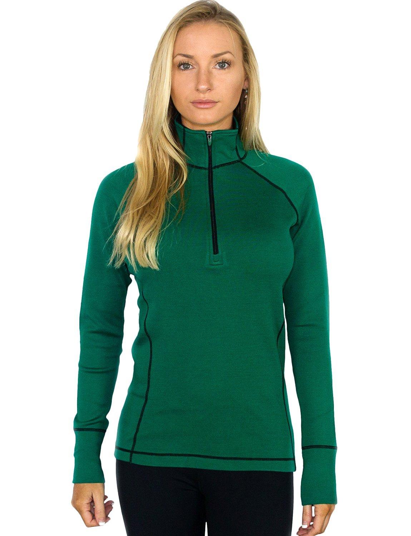 Woolx  Women's 1/4 Zip Merino Wool Top - Emerald Green - XLG