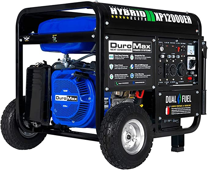 Amazon.com : DuroMax XP12000EH Dual Fuel Electric Start Portable Generator, Blue and Black : Garden & Outdoor