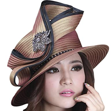 June s Young Womens High Fashion Ladies Hat Church Hat Black Brooch (Brown) 6d54a92fbaf