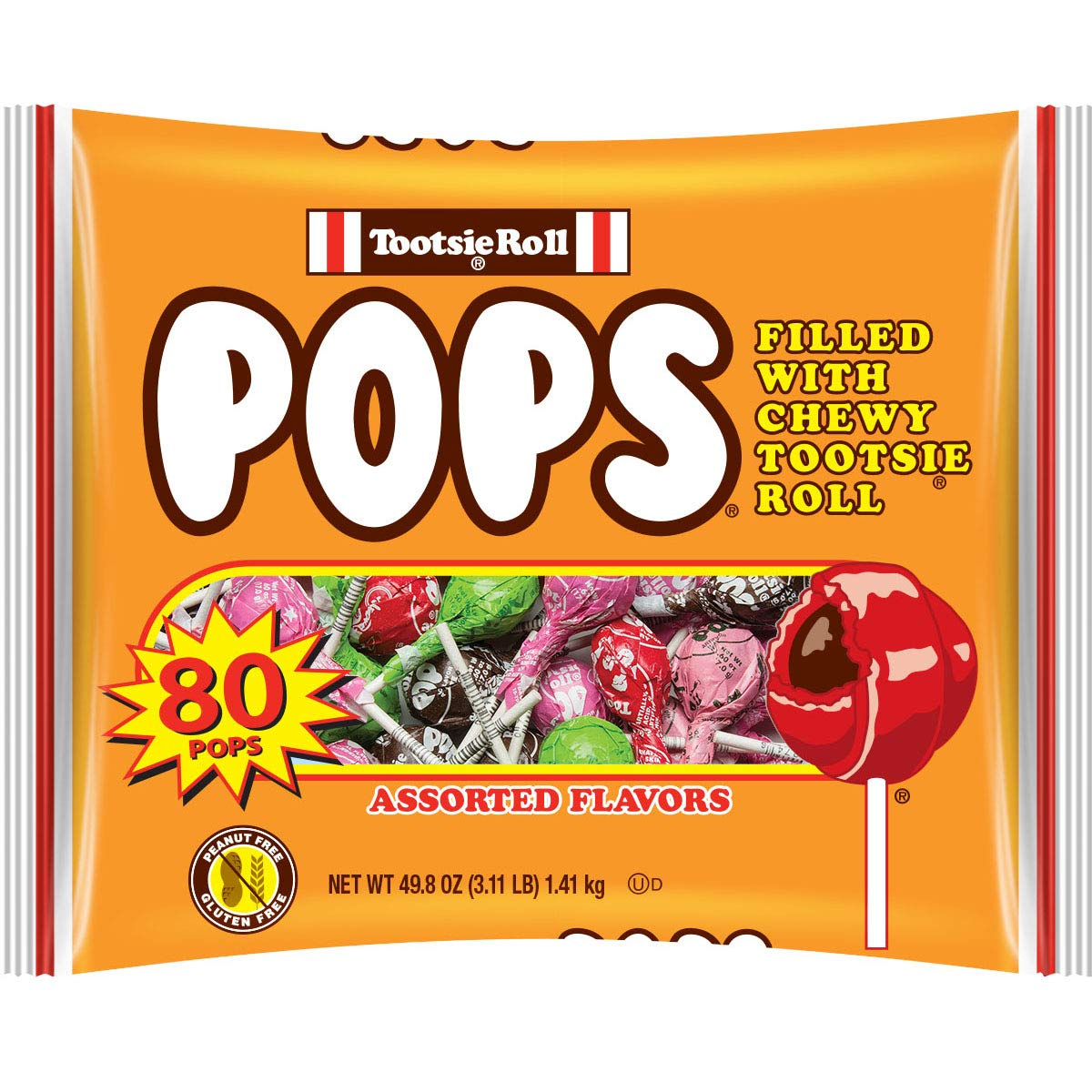 Tootsie Pops Original Assorted Flavors with Chocolatey Center, 80 Count Halloween Candy Giveaway Bag Peanut Free, Gluten Free