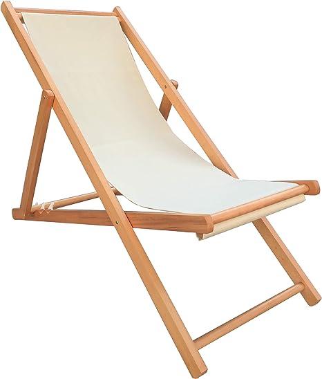 Havnyt - Tumbona plegable de madera de haya para jardín, 4 posiciones reclinable: Amazon.es: Jardín