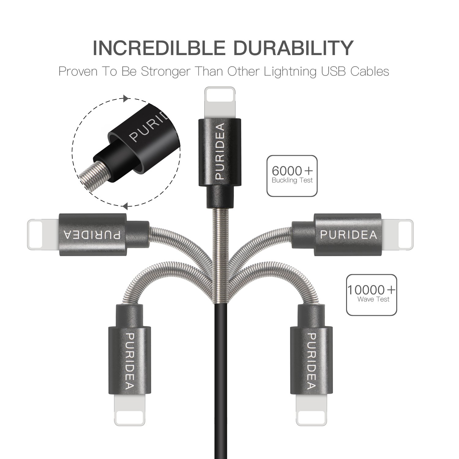 Puridea 7 Inch Short Iphone Cord Black 5 Pack Charging Cable Usb Certified Fast Ipad Lightning Compatible For X 8 6s 6 Remax Car Charger 3 Output Saver 36a White