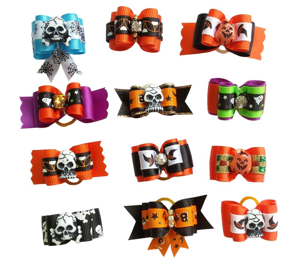 PET SHOW Halloween Pet Dog Hair Bows W/Rubber Bands Cat Puppy Grooming Accessories Double Layer Assorted Pack of 20