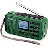 TIVDIO HR-11S Emergency Radio Solar Hand Crank Radio AM FM Shortwave Radio Dynamo Wireless MP3 Player USB Charger Cable Digital Recorder Flashlight Alert Red SOS for Camping (Green)