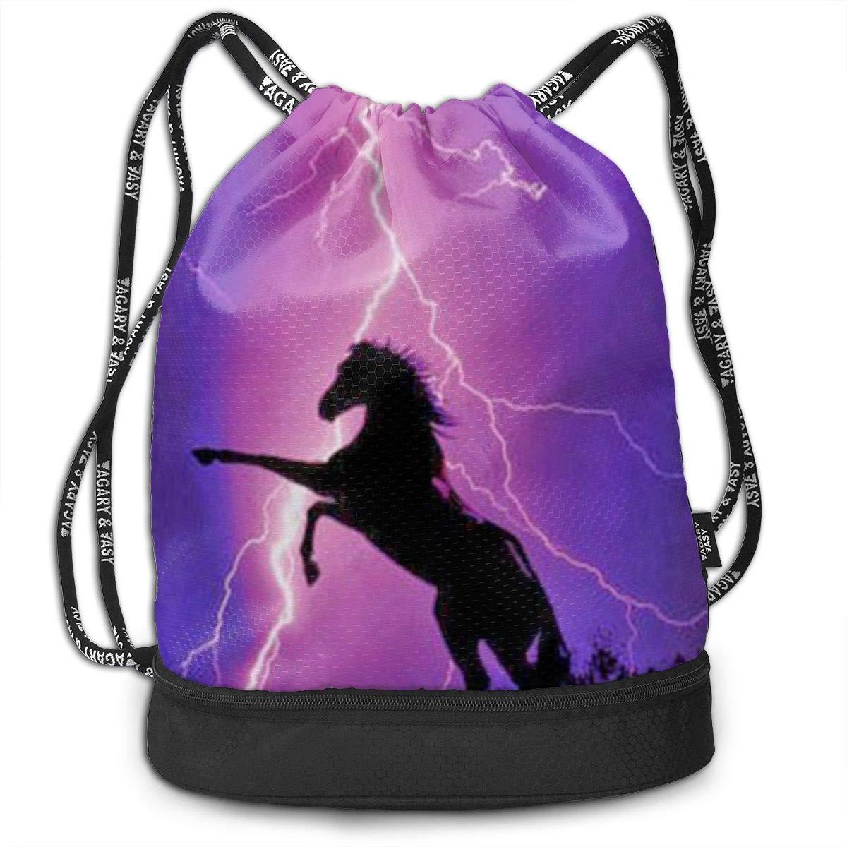 Horse 3D Drawstring Bag Sport Gym Travel Bundle Backpack Pack Beam Mouth Shoulder Bags