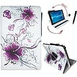 Tablet Tasche für Lenovo Tab10 TB-X103F Schutz Hülle Etui Case + Touch Pen - 10.1 Zoll Lila Blumen 360?
