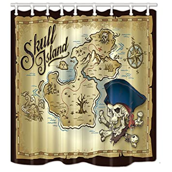 NYMB Nautical Adventure Decor Skull Island In Vintage Shower Curtains Polyester Fabric Waterproof Bath