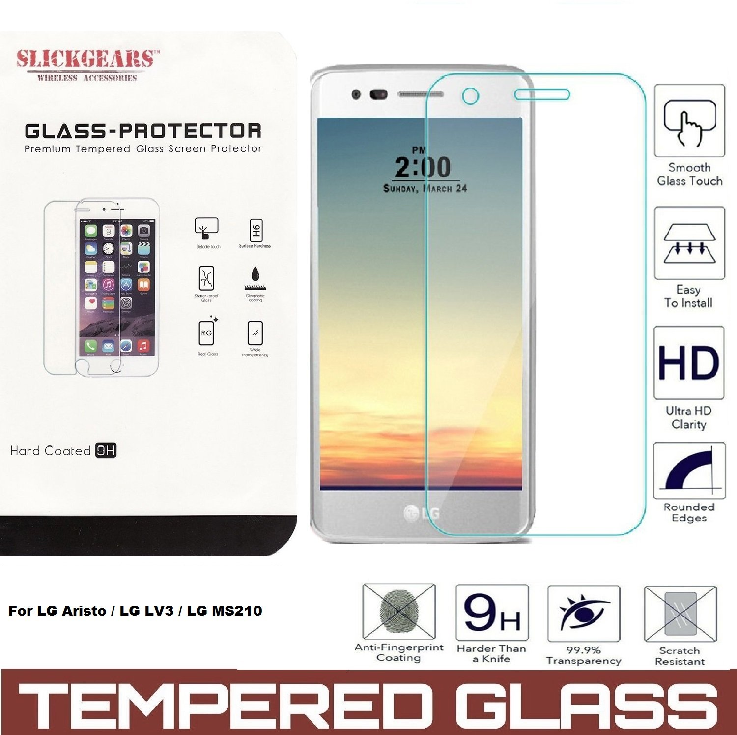 LG Aristo Tempered Glass UltraClear 9H Impact Abrasion Resistance LCD Screen Protector
