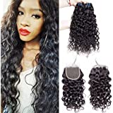"""Maxine Brazilian Water Wave 3 Bundles with Closure Unprocessed Virgin Hair with 4"""" 4"""" Lace Closure Free Part Natural Color"""