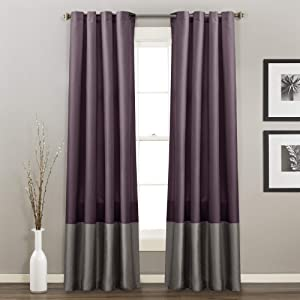 Lush Decor, 54 x 95 Purple White/Gray Prima Window Curtains Panel Set for Living, Dining Room, Bedroom (Pair), 54 x 84-inch, L