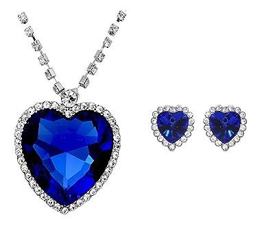 Purple Sapphire Dark Blue or Red Hearts Romantic Jewellery Set Earrings Necklace