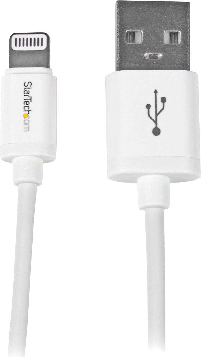 StarTech.com 0.3m (11in) Short White Apple 8-pin Lightning Connector to USB Cable for iPhone/iPod/iPad - Charge and Sync Cable (USBLT30CMW)