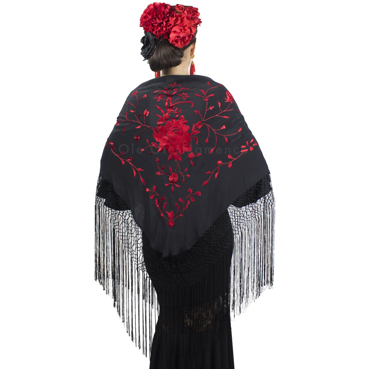 Spanish Red Silk Hand Embroidered Black Triangle Fringe Shawl