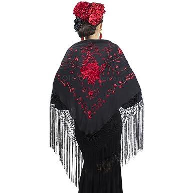 New Spanish Flamenco Shawl Large Black with White Pattern with Black Fringe