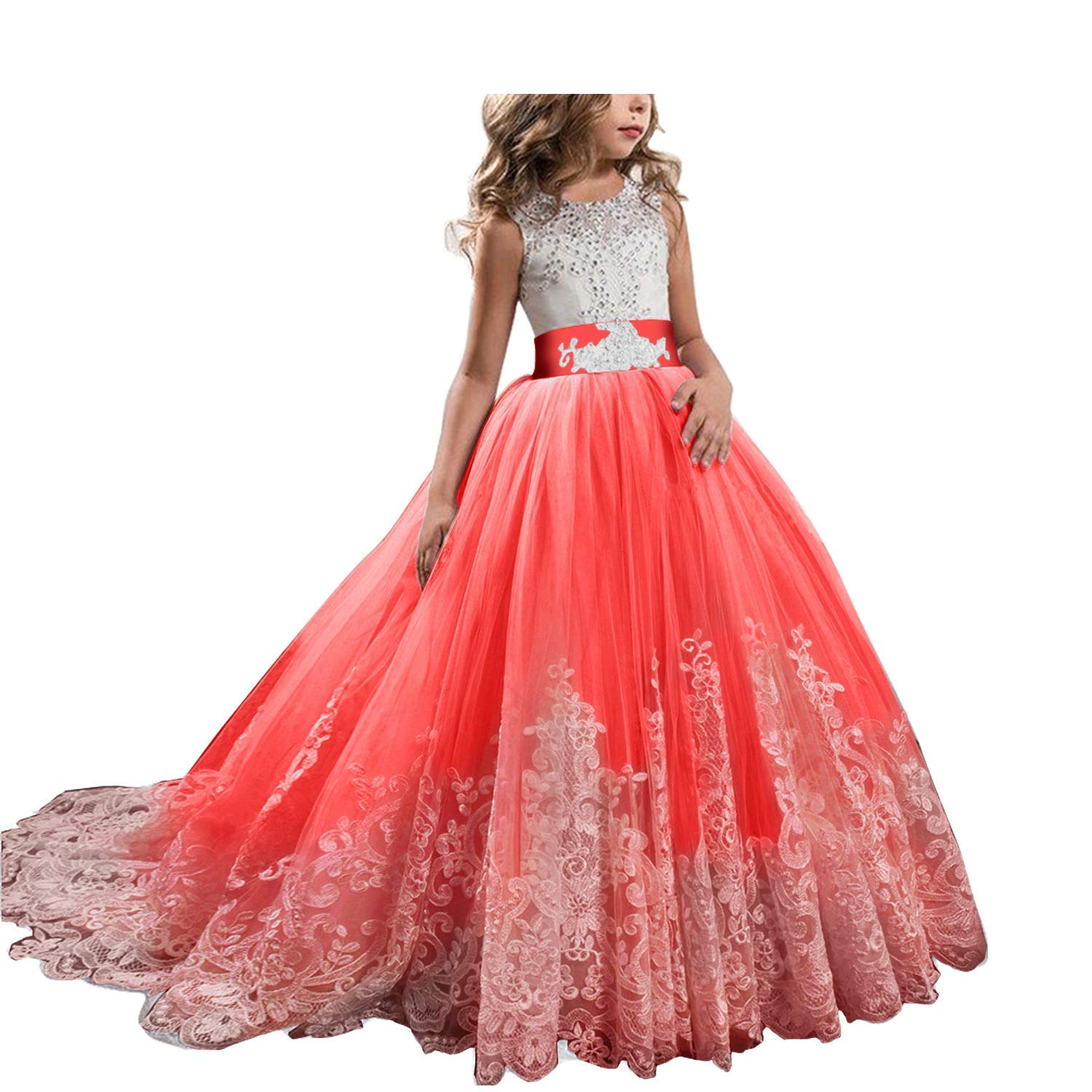 fecb2ef1e Amazon.com: Childrens Dresses High-Grade Lace Girls Flowers Party Costume  for Kids Girl Pageant Dance Ball Gown Prom Birthday Dress,Red,8: Kitchen &  Dining