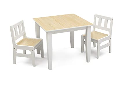 Delta Children Wooden Children's Table and Chair Set (Natural and White)